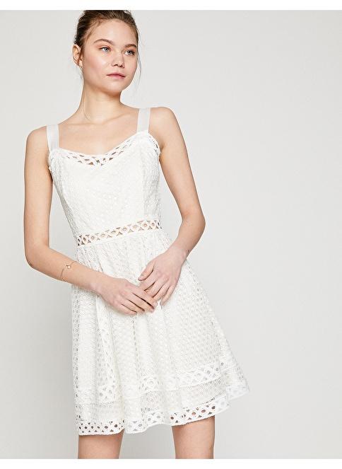 Koton Askılı Dantelli Mini Elbise Beyaz
